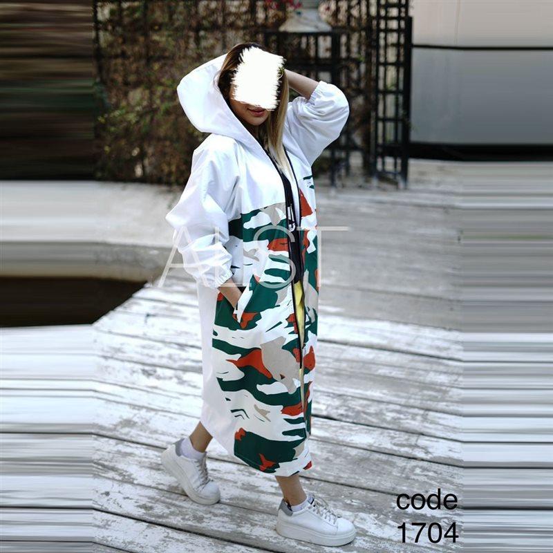 بارانی دخترانه 1704 سفید طرحدار